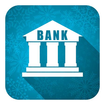 christmas profits: bank flat icon, christmas button Stock Photo