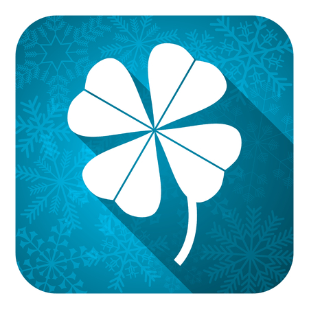 irish christmas: four-leaf clover flat icon, christmas button Stock Photo