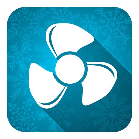 airflow: fan flat icon, christmas button Stock Photo