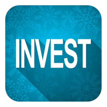 christmas profits: invest flat icon, christmas button Stock Photo