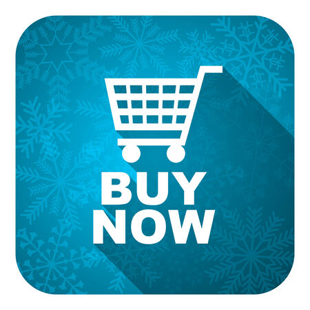 christmas profits: buy now flat icon, christmas button Stock Photo