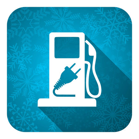 fuel flat icon, christmas button, hybrid fuel sign photo