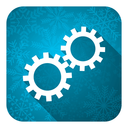 gears flat icon, christmas button, options sign photo