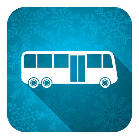bus flat icon, christmas button, public transport sign photo