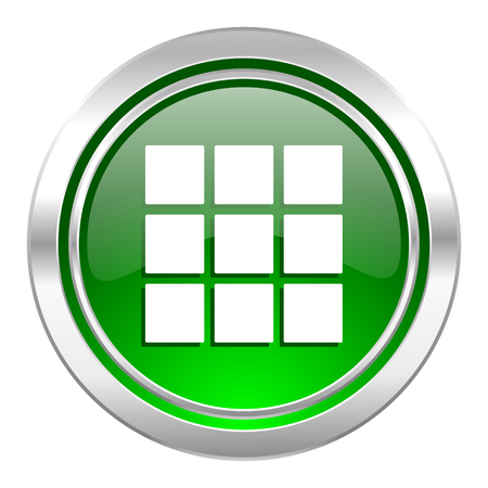 thumbnails: thumbnails grid icon, green button, gallery sign
