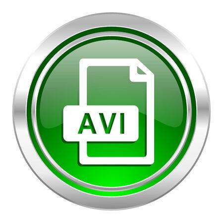 avi: avi file icon, green button Stock Photo