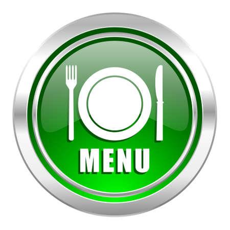 menu icon: menu icon, green button, restaurant sign Stock Photo