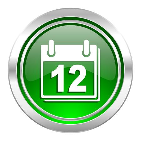 calendar icon, green button, organizer sign, agenda symbol photo