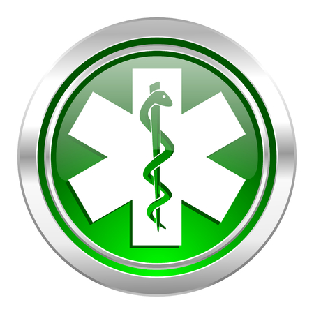 emergency icon, green button, hospital sign photo