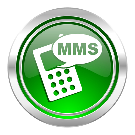 mms icon, green button, phone sign photo