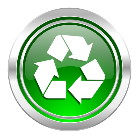 recycle icon, green button, recycling sign photo