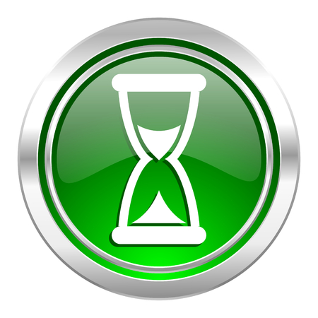 time icon, green button, hourglass sign photo