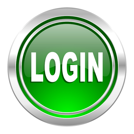 login icon: login icon, green button Stock Photo