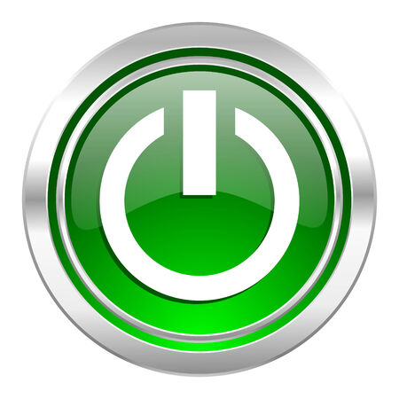 run off: power icon, green button, on off sign Stock Photo