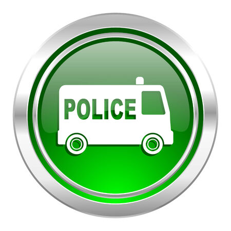 highway patrol: police icon, green button