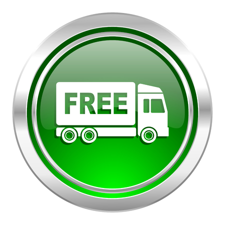 free delivery icon, green button, transport sign photo