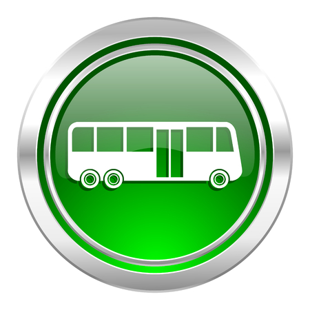 bus icon, green button, public transport sign photo