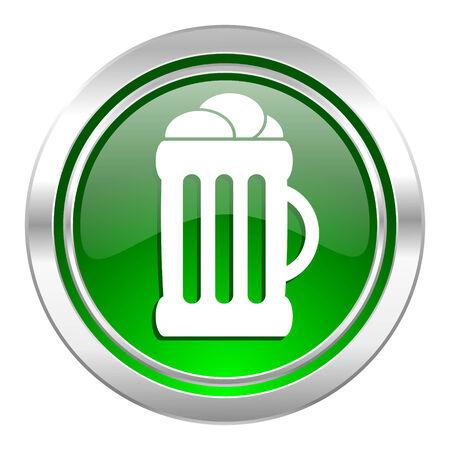 beer icon, green button, mug sign photo