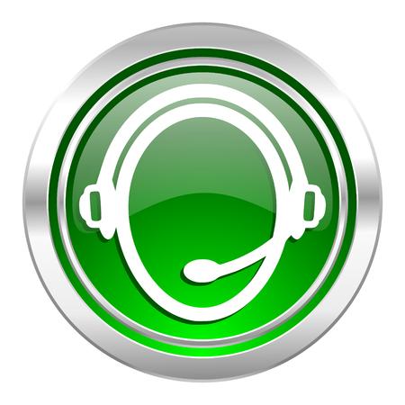 customer service icon: customer service icon, green button Stock Photo