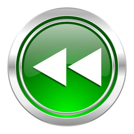 rewind: rewind icon, green button Stock Photo