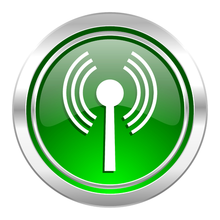 wifi icon, green button, wireless network sign photo