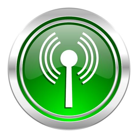 wifi icon, green button, wireless network sign photo