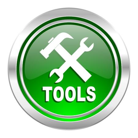 tools icon: tools icon, green button Stock Photo