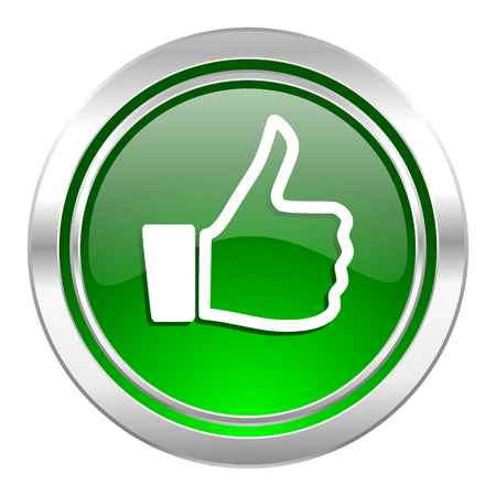 like icon, green button, thumb up sign photo