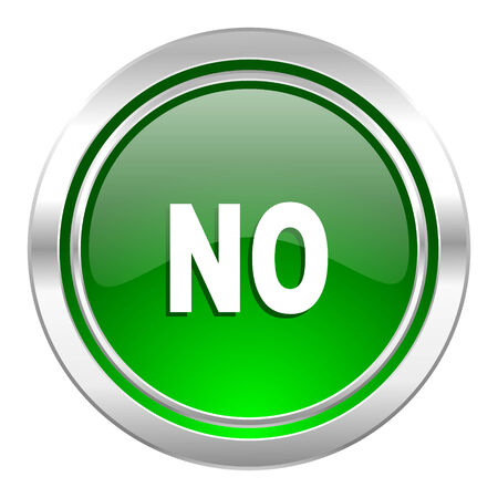 negate: no icon, green button Stock Photo