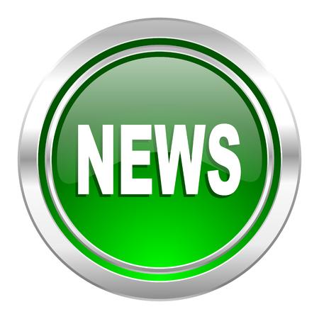 icone news: nouvelles ic�ne, bouton vert Banque d'images