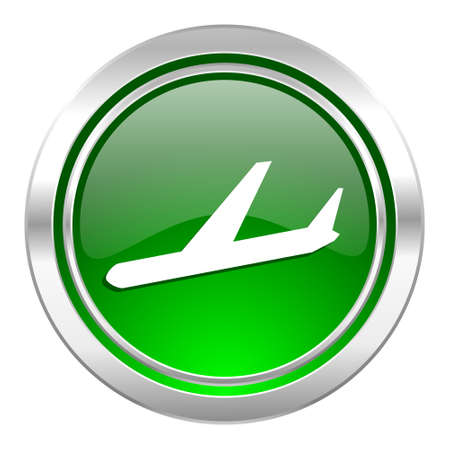 arrivals: arrivals icon, green button, plane sign Stock Photo