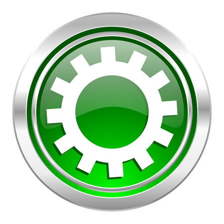 gears icon, green button, options sign photo