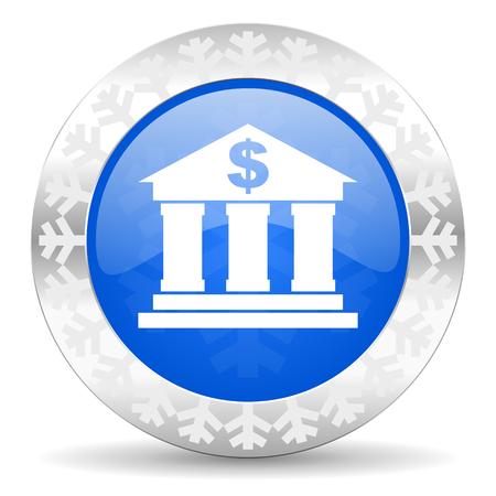 christmas profits: bank blue icon, christmas button Stock Photo