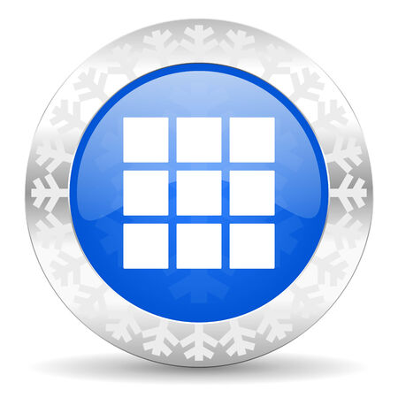 thumbnails: thumbnails grid blue icon, christmas button, gallery sign