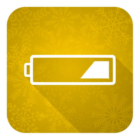accuse: battery flat icon, gold christmas button, charging symbol, power sign