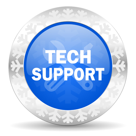 technical support: technical support blue icon, christmas button