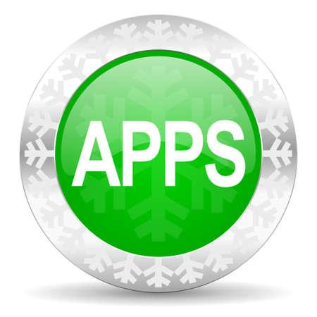 apps green icon, christmas button photo