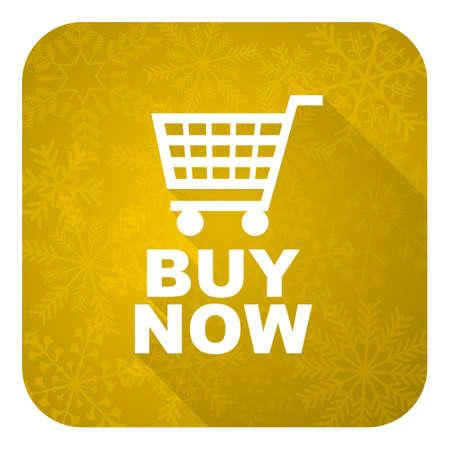 christmas profits: buy now flat icon, gold christmas button Stock Photo