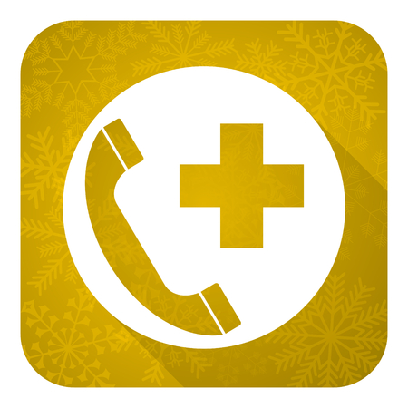 emergency call flat icon, gold christmas button photo