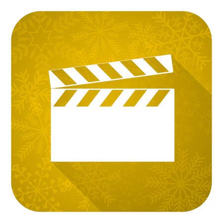 hollywood christmas: video flat icon, gold christmas button, cinema sign