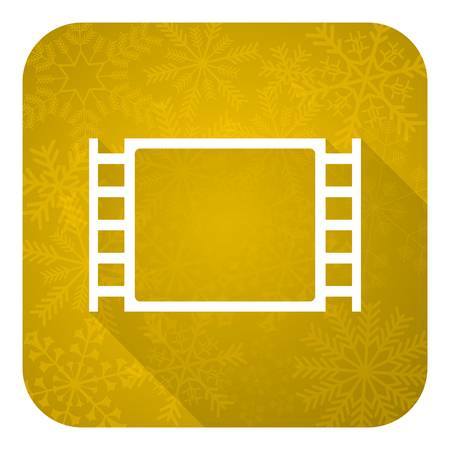 movie flat icon, gold christmas button photo