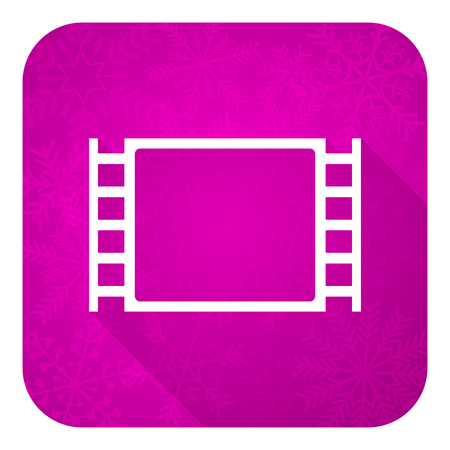 movie violet flat icon, christmas button photo