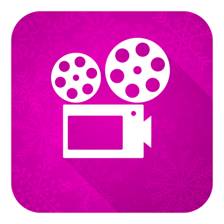 hollywood christmas: movie violet flat icon, christmas button, cinema sign Stock Photo