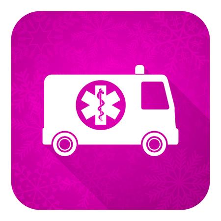 ambulance violet flat icon, christmas button photo