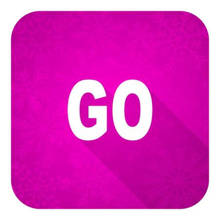 go violet flat icon, christmas button Stock Photo