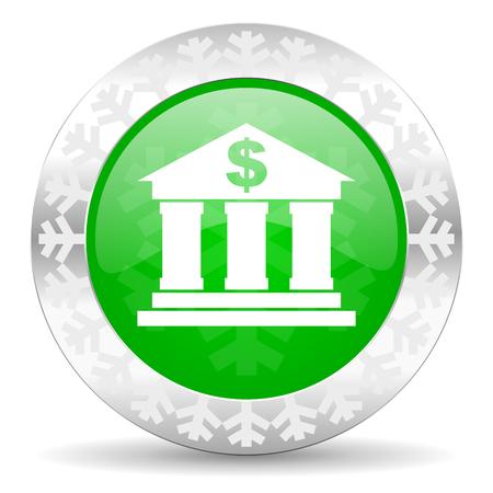 christmas profits: bank green icon, christmas button Stock Photo