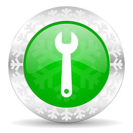 tools green icon, christmas button, service sign photo