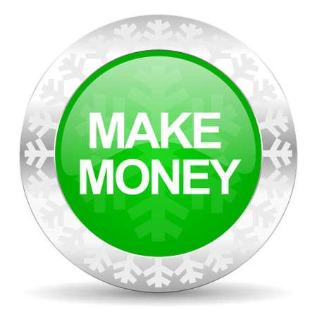 christmas profits: make money green icon, christmas button