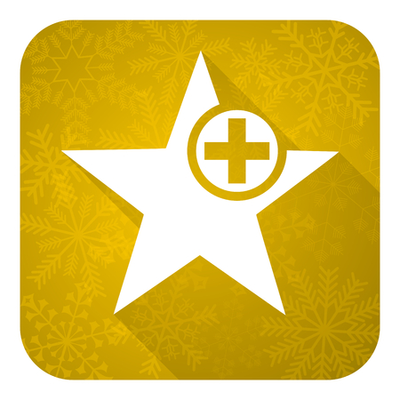 favourite: star flat icon, gold christmas button, add favourite sign