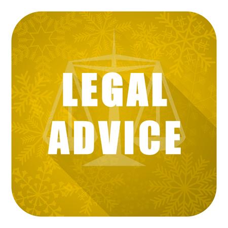 asesoria legal: asesoramiento jur�dico icono plana, bot�n de la Navidad del oro, signo ley Foto de archivo